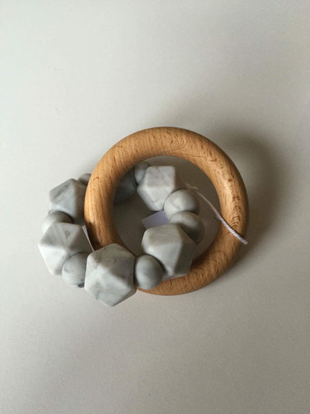 Hex Silicone and Beech Wood Teether - Marble