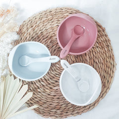 Silicone Suction Bowl Set - Marble