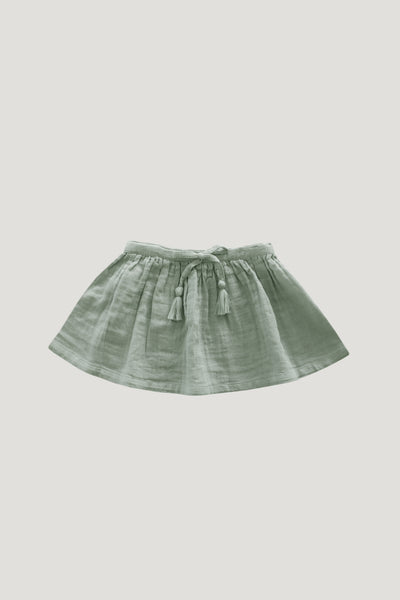 Organic Cotton Muslin Lace Hazel Skirt - Sage