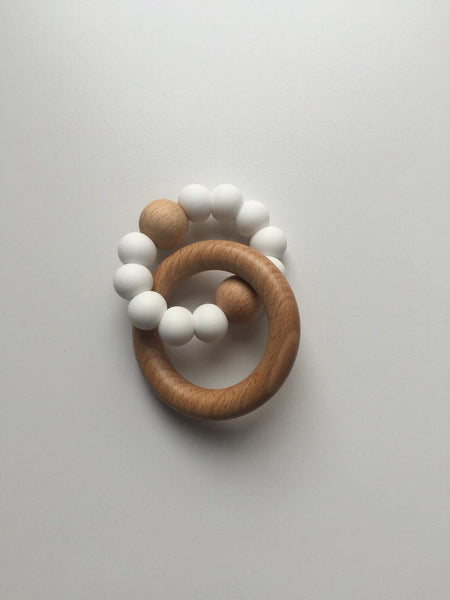 Silicone and Beech Wood Teether - White