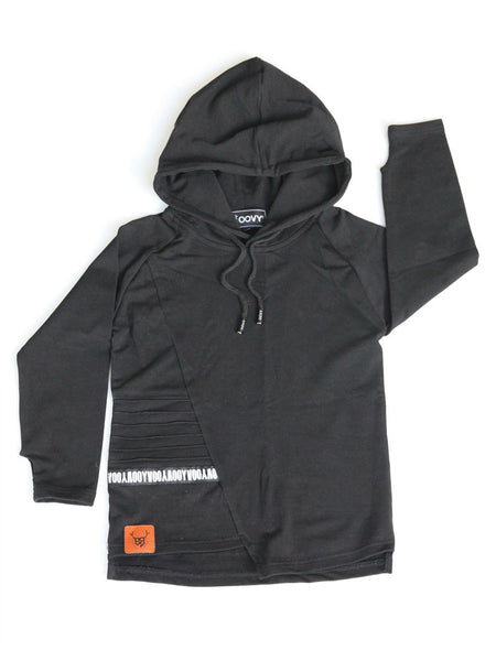 Long Sleeve Hooded Top - Black