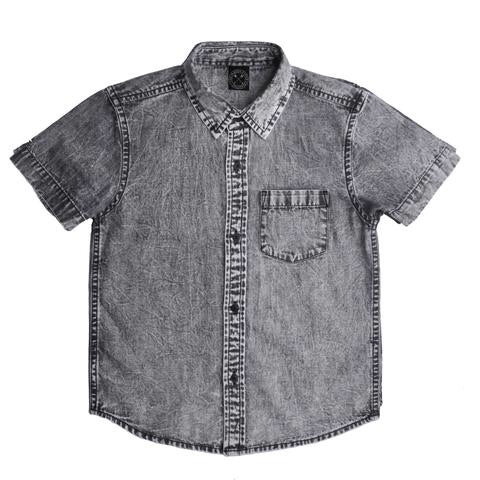 Denim Acid Wash Shirt - Black