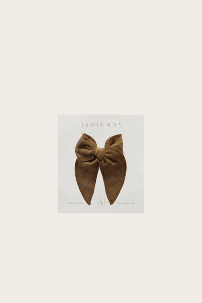 Organic Cotton Muslin Bow - Bronze