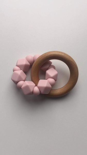 Hex Silicone and Beech Wood Teether - Pink