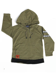 Long Sleeve Hooded Top - Olive