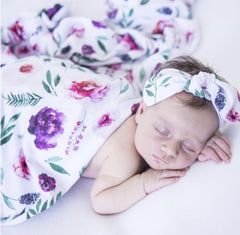 Peony Bloom Baby Jersey Wrap with topknot