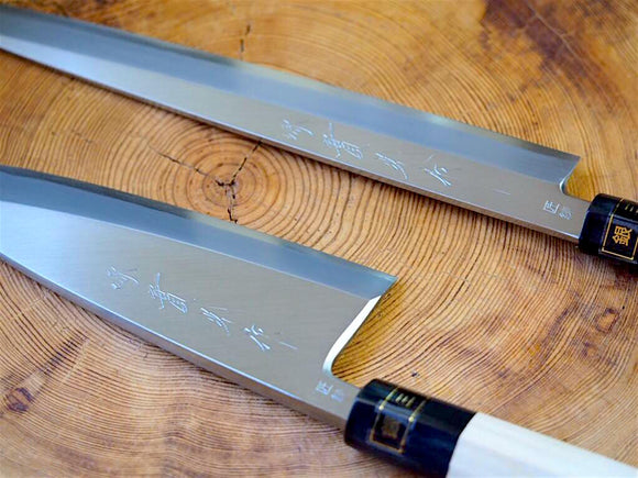 "2 Knife set: Jikko ""Ginsan"" Silver-3 Steel Yanagiba Sashimi & Deba Fish Filleting Knife"