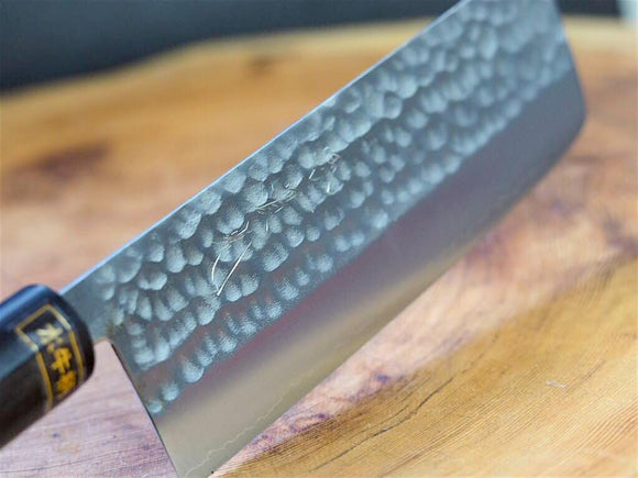"Sakai Jikko ""Wa-Nakiri"" VG-1 Steel Hammered Finish with Magnolia & Buffalo Horn Handle 16.5cm"