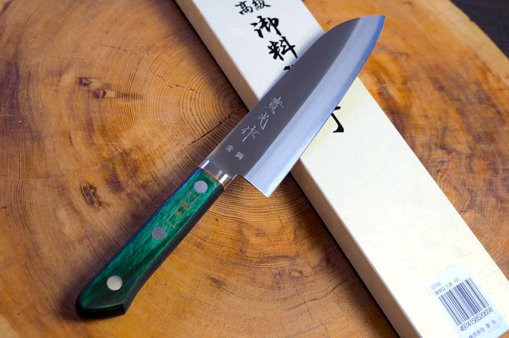 "Sakai Jikko ""Aogami"" Blue-2 Steel Santoku Knife with Green Plywood handle (16.5cm)"