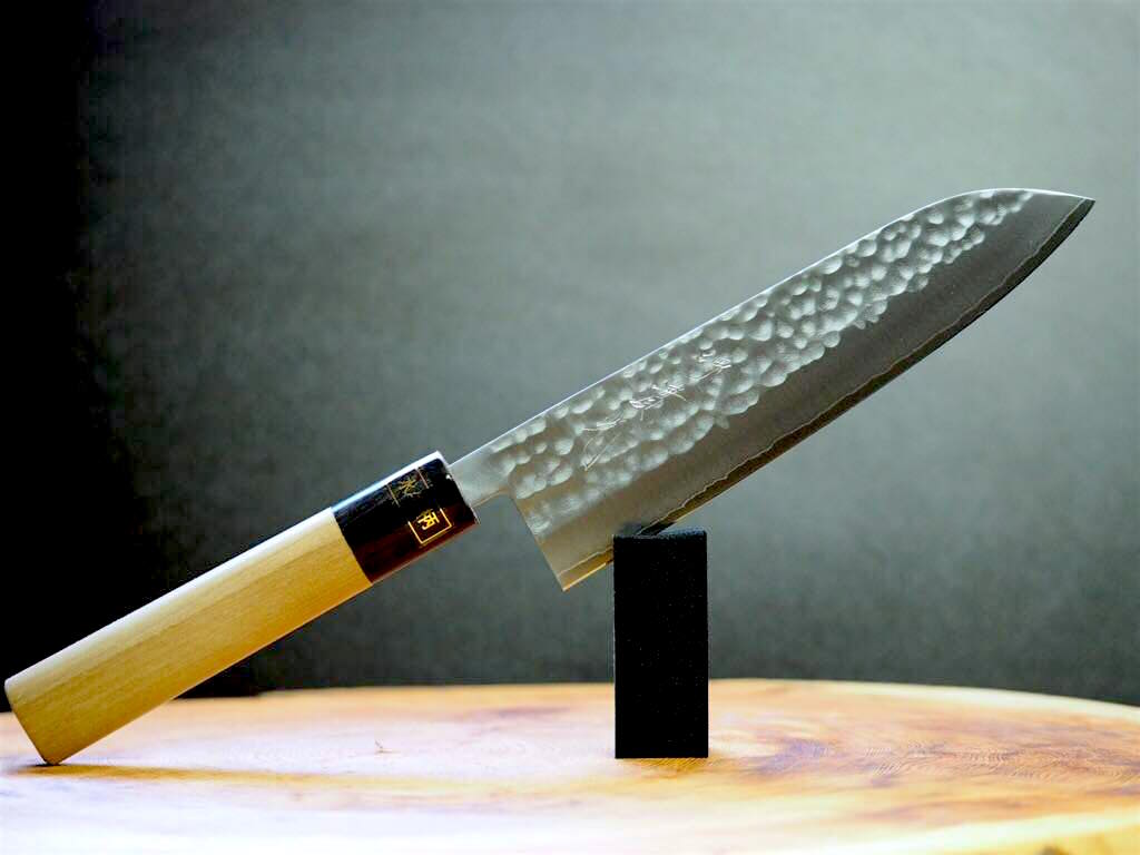 "Sakai Jikko ""Wa-Santoku"" VG-1 Steel Hammered Finish with Magnolia & Buffalo Horn Handle 18cm"
