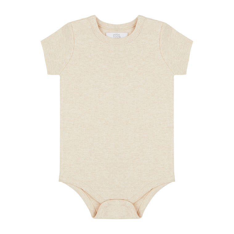 Short Sleeved Bodysuit - Oatmeal