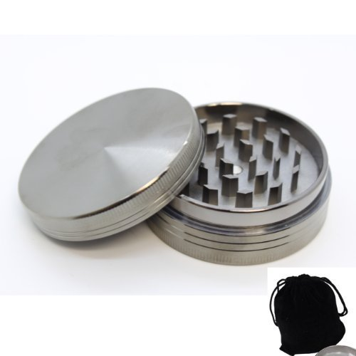 Lancer Chromium Zinc 2pc Tobacco Spice Herb Grinder Magnetic Top with Free Velvet Pounch and Lifetime Warranty