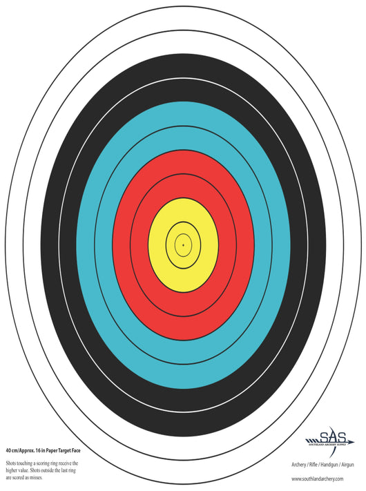 SAS 10-Ring Paper Target Face for Archery Shooting Range 40cm 17