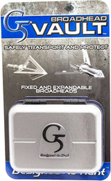G5 Vault Broadhead Case Holds 5 Expandable/Fixed Blade Broadheads-Silver & Black