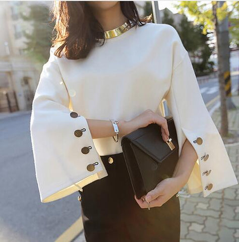 Flare Sleeve Split O-neck Blouse