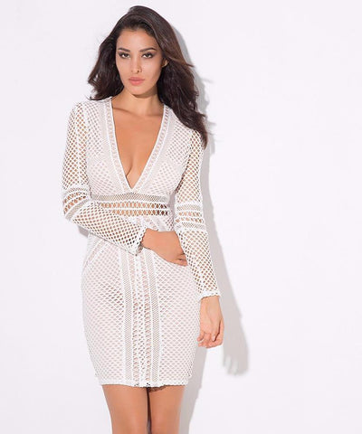 White Geometric Lace Stitching Deep V Collar Bodycon Dress