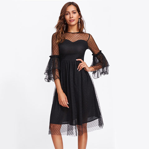 Dot Mesh Overlay Black Party Dress Layered Bell Sleeve