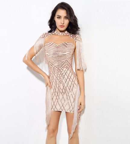 Gold Digger High Collar Geometric Pattern Sequins Mesh Fringed Dress