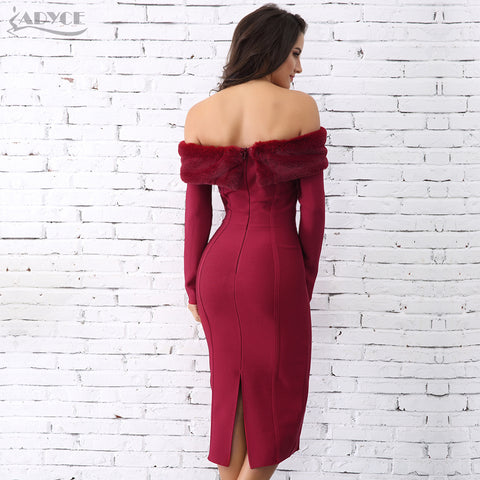 Wine Red Slash Neck Faux Dress