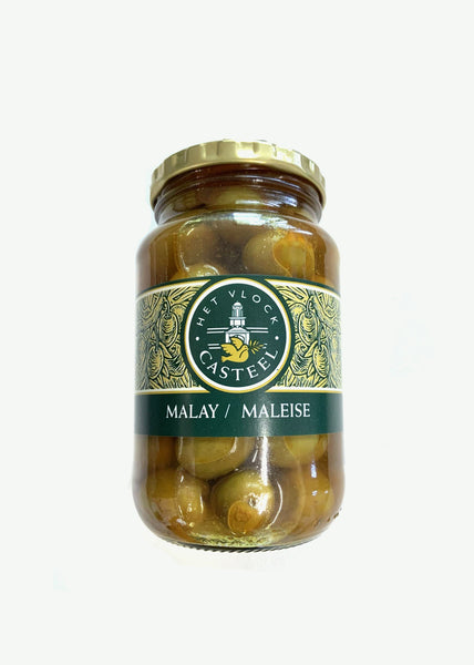 Het Vlock Casteel  Nocellara olives infused with Malay 375ml