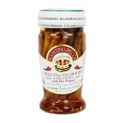 Agostino Recca Salted Anchovies with Hot Pepper 200g