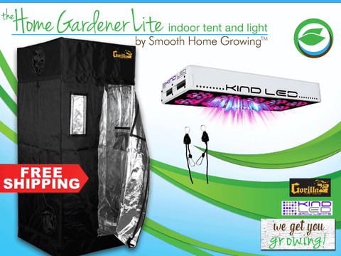 The HOME GARDENER LITE by Smooth Home Growing features a Gorilla Grow Tent and a KIND LED L600 light to make the best indoor grow tent and light combo.