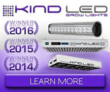 3 Time winner of the Grow Gear of the Year award, the KIND LED Grow Light Product Line for sustainable and organic indoor gardening.