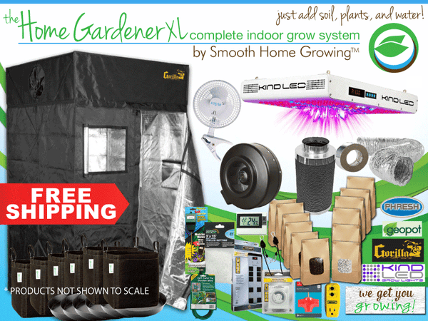 The HOME GARDENER XL indoor grow tent system by Smooth Home Growing consists of a Gorilla Grow Tent, a KIND LED light, and all the needed components to get you growing.