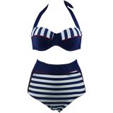 Cocoship Retro Navy Blue Stripe Black Polka Dot High Waist Bikini Swimsuit