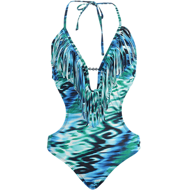 Marina West Women's Fringed Plunge Monokini Swimsuit