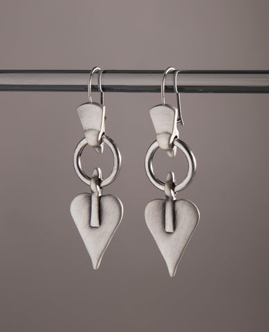 Signature Heart & Hoop Triangle Drop Earrings