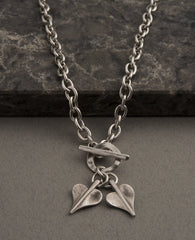 Double Mini Leaf of Love T-Bar Necklace