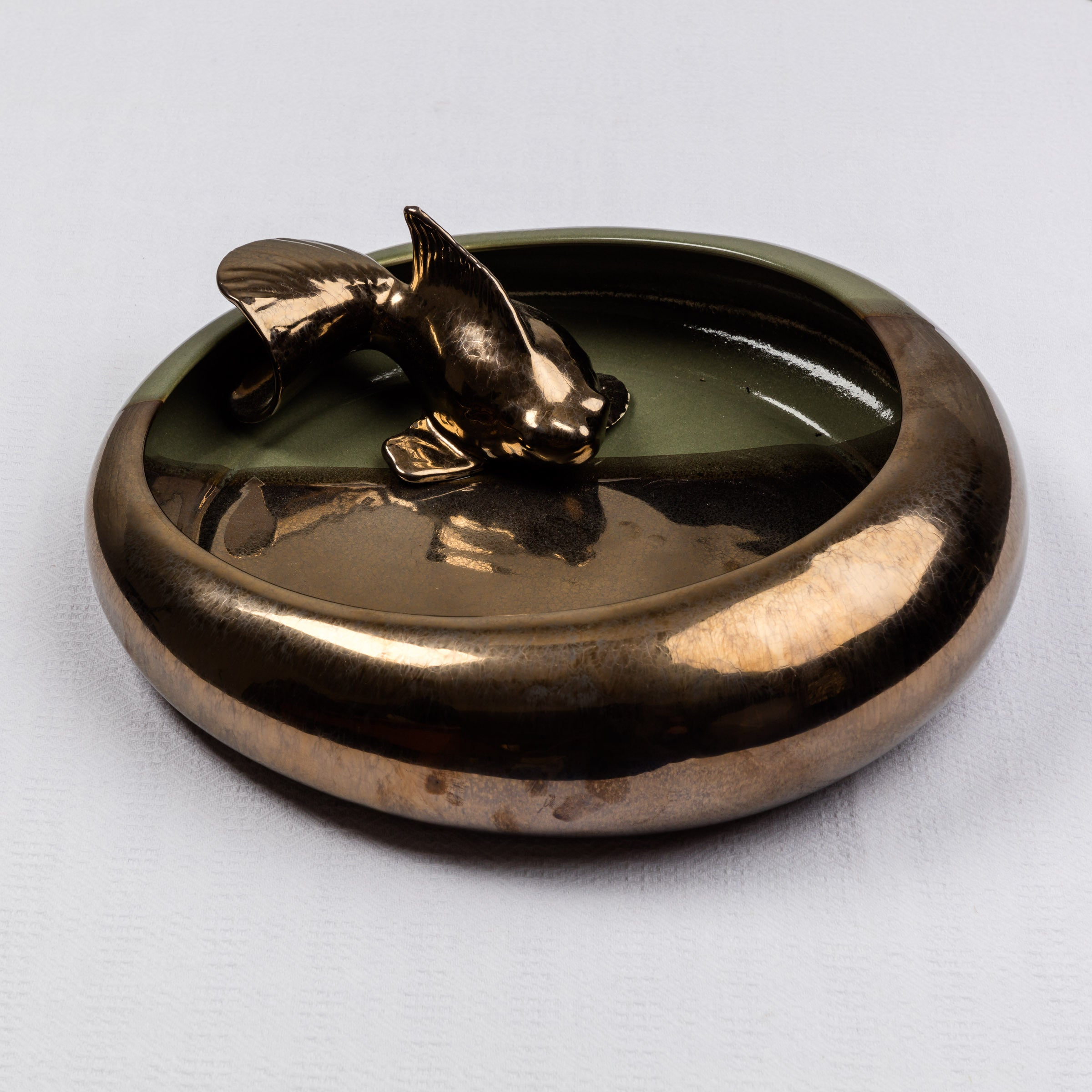 Decorative Olive and Bronze Koi Bowl