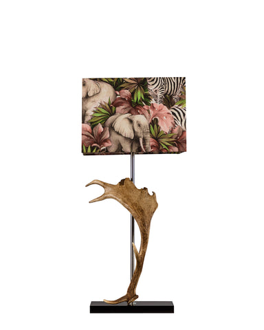 Deer Horn Lamp with Zebra Print Shade