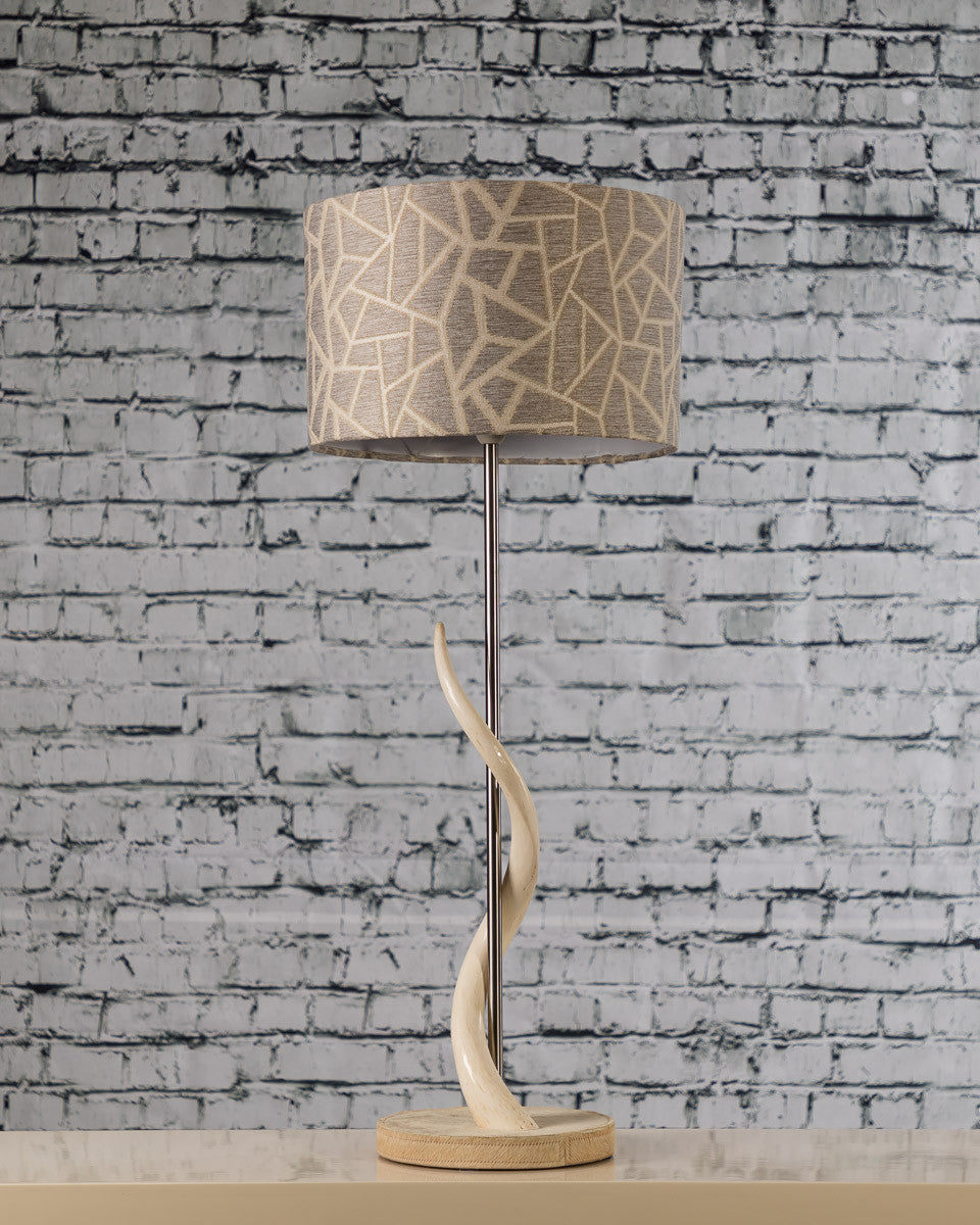 Kudu Horn Lamp with Giraffe Print Shade