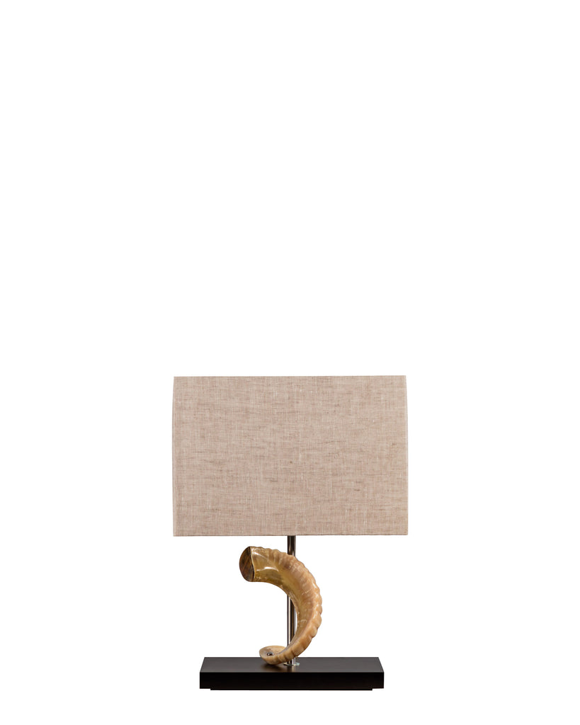 Ram Horn Lamp with Natural Linen Shade