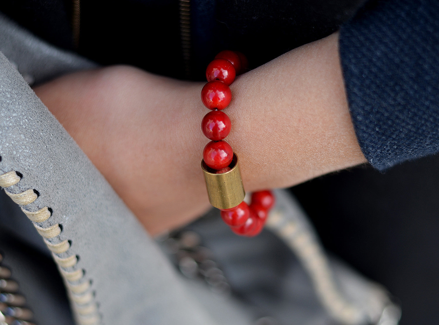red coral bracelet with brass pipe and Buddha charm