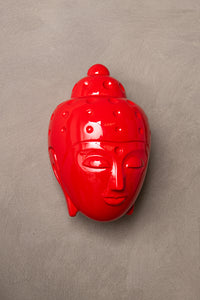 Ceramic Buddha Head Sculpture - Luminous Red