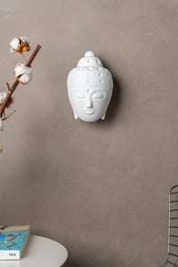 Ceramic Buddha Head Sculpture - White