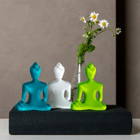Turquoise, White, Neon Green Buddha Set