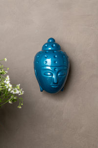 Ceramic Buddha Head Sculpture - Metalic Turquoise