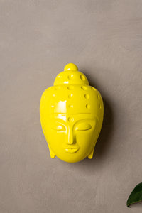 Ceramic Buddha Head Sculpture - Bright Yellow