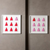 Nine No. 10 & 11 - diptych pink and red buddha wall sculpture