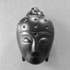 Ceramic Buddha Head Sculpture - Matte Black