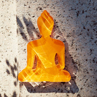 Mini / Medi Buddha statue - Contemporary Meditating Orange Buddha, inspiring creativity and freedom