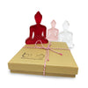 Contemporary Buddhist Statues - 3 Mini Buddhas - Red, Pink, White