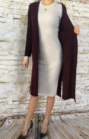 Double Pocketed Long Cardigan