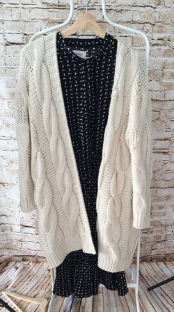 Long Cable Knit Cardigan  (Hot Deal)