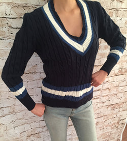 Low V-Neck Striped Sweater