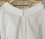 Wide Shoulder Button Up Blouse